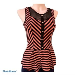 romantic button top pink black stripes mesh back